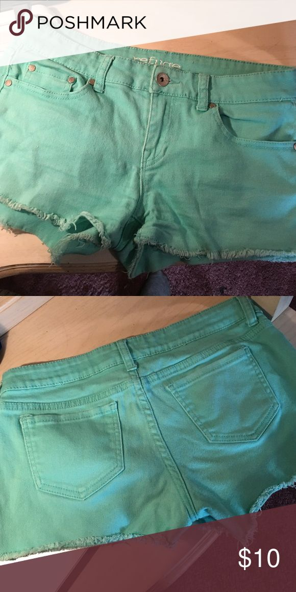 Mint green shorts Mint green shorts! Can go with a variety of outfits and super cute for the summer. Stretchy material. Some wear and tear. Worn a few times, no longer fits! Shorts Jean Shorts