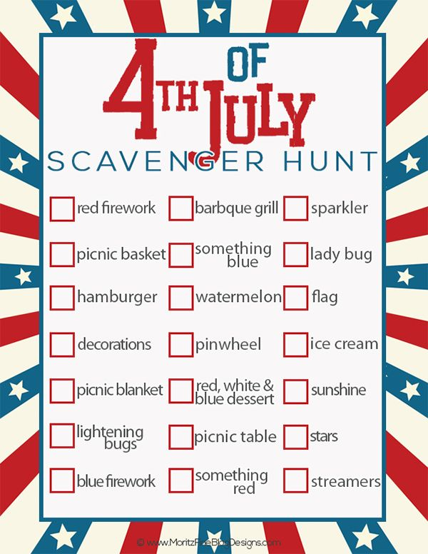 4th of July Scavenger Hunt for Kids - such a fun idea!