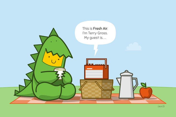 Freda listens to Fresh Air - The Roundlings #cute #drawing #publicradio