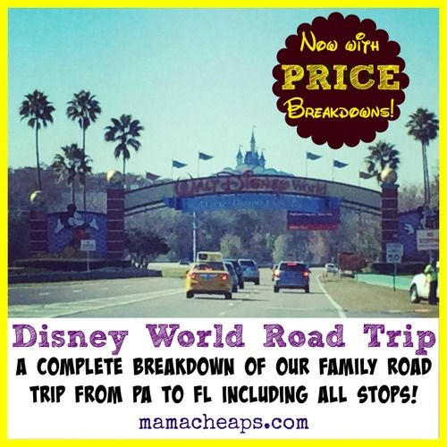 Disney World Road Trip Itinerary – PA to FL and Back! A complete breakdown of our 2000+ mile round trip to Disney including all stops. * NOW INCLUDES COMPLETE PRICE BREAKDOWN!!