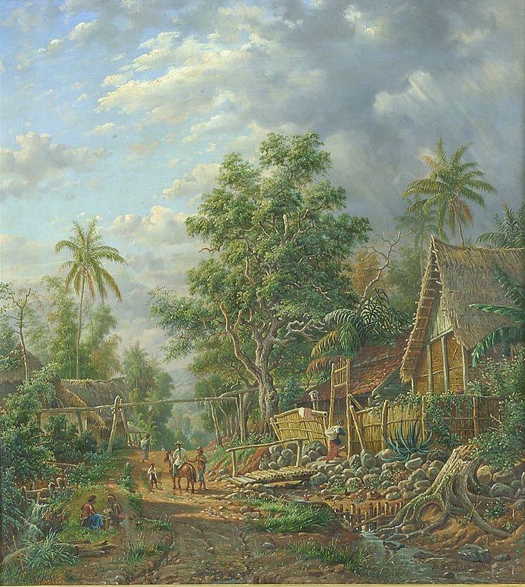 Olieverfschildering voorstellend een dorpsgezicht met afdrijvende regenbui bij Malang, Java door M.E.H.R. van den Kerkhoff, 59 x 53 cm