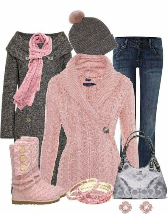 I want that pink sweater and scarf! I would even consider buying those pink uggs!!!