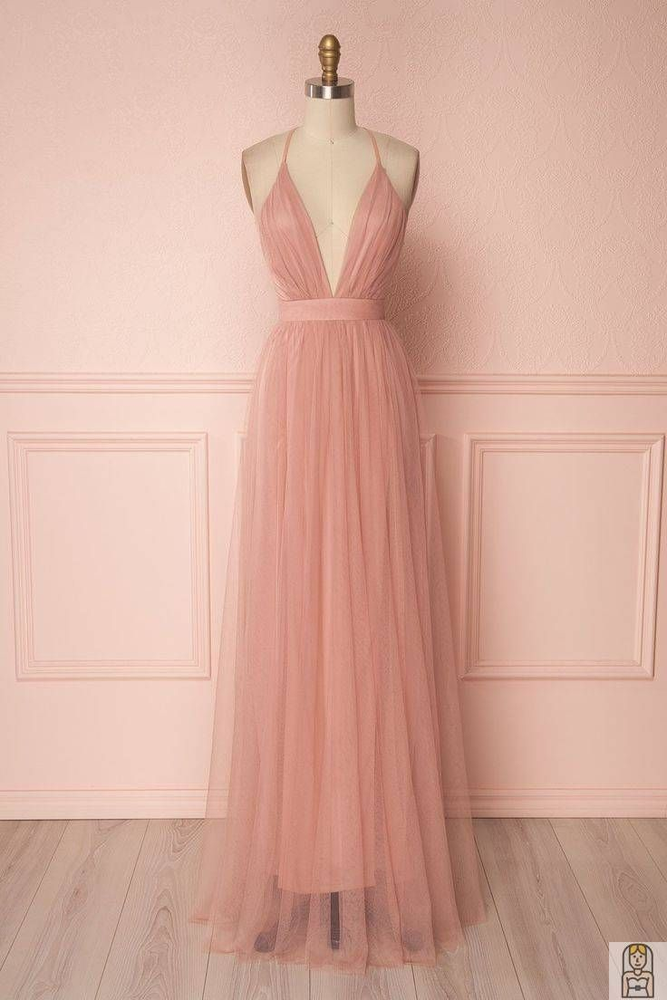 Deep V Neck Prom Kleid Blush Pink bodenlangen Tul in 13