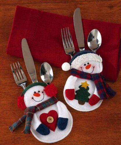 Santa-Snowman-Christmas-Silverware-Holder-Pocket-Holiday-Party-Decor-8pcs