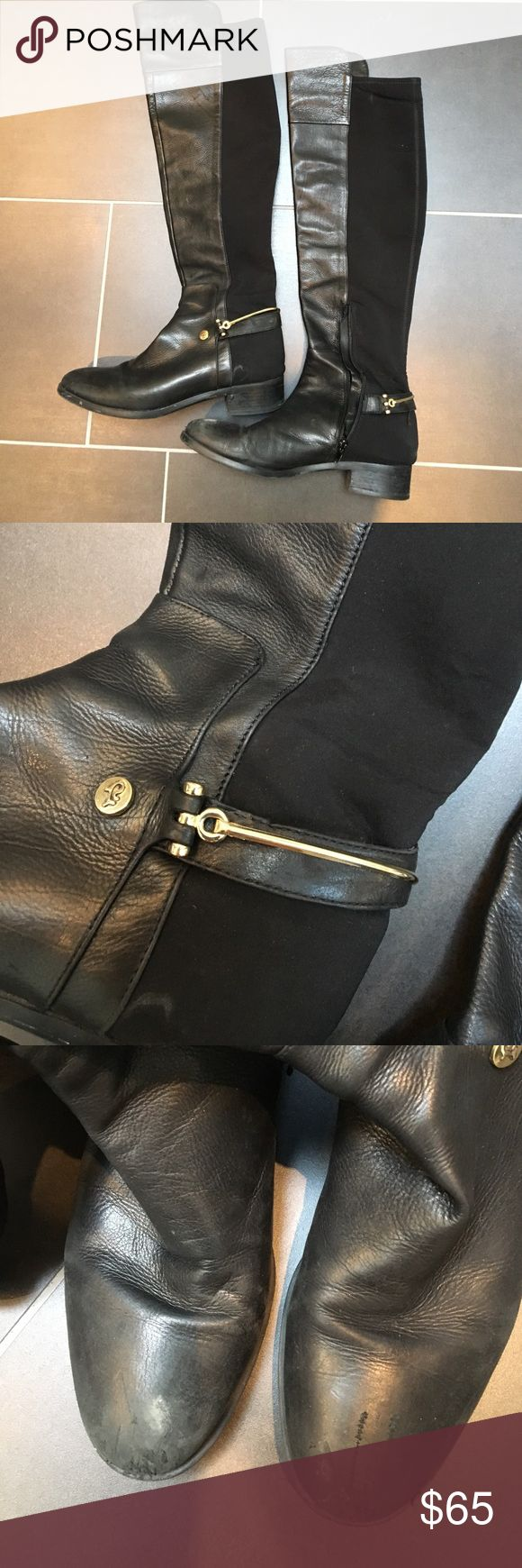 Leather Riding Boots Leather riding boots with stretchy cloth detail on the back and gold hardware. These are in used condition as indicated in the photo, but the leather can be easily polished and repaired, these boots still have a lot of life left in them! Offers are welcome ♥️ Ivanka Trump Shoes Over the Knee Boots