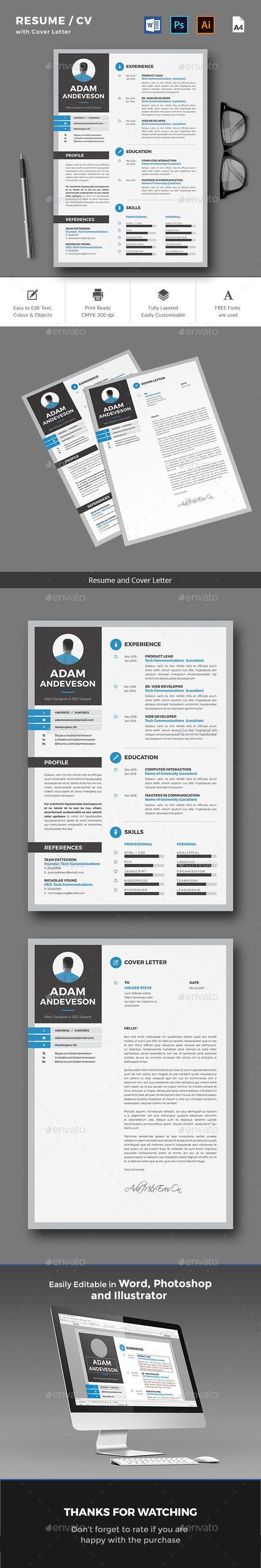 Resume / CV Template PSD, AI, MS Word