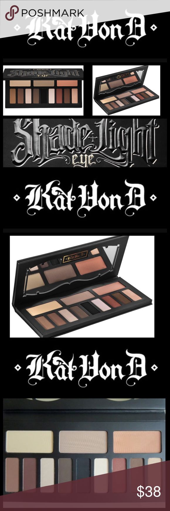 Kat Von D Shade + Light Eye Contour Kit An eye contouring palette featuring three color quads in neutral, cool, and warm shades.  This palette contains:  - 3 x base shades in Laetus (creamy nude), Lazarus (cool taupe), Ludwin (peachy bronze)- 3 x Contour shades in Samael (dusty fawn), Saleos (smoky brown), Succubus (rich rust) -3 x Define shades in Solas (espresso brown), Shax (jet black), Sytry (chocolate brown)  - 3 x Highlight shades in Lucius (soft beige), Liberatus (pinkish ivory)…