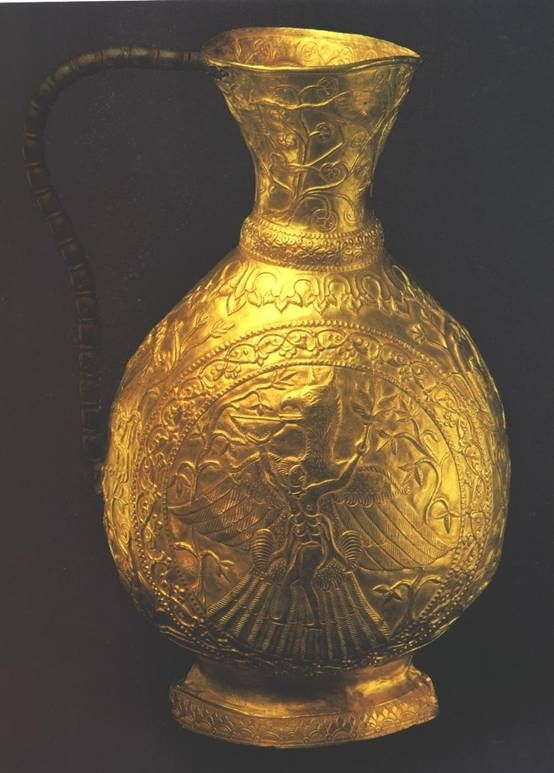 Gold vessel from the Treasure of Sânnicolau Mare (Romania), an important hoard of early medieval gold vessels (from 6th to 10th c. CE) on display at the Kunsthistorisches Museum of Vienna.   The vase is decorated with a scene related to the complex mythology of semi-nomadic peoples of Central Asia, including Hungarians, Huns, Scythians, Khazars, Avars and Slavs. However, stylistically, Central Asian, Sassanid and Byzantine influences are predominant.