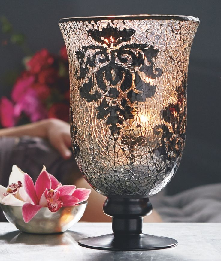 Even your candles will fall in love with the new Forbidden Fruits Mosaic Pedestal Hurricane