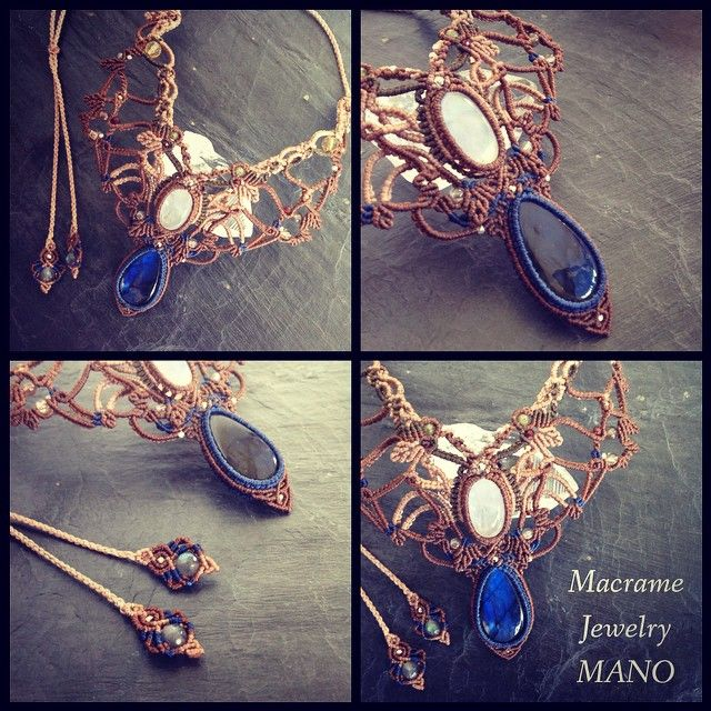 ラブラドライト×レインボームーンストーンマクラメコンビネーションネックレス。 #Macrame #MacrameJewelry #Accessories #Necklace #RainbowMoonstone #Labradorite #マクラメ