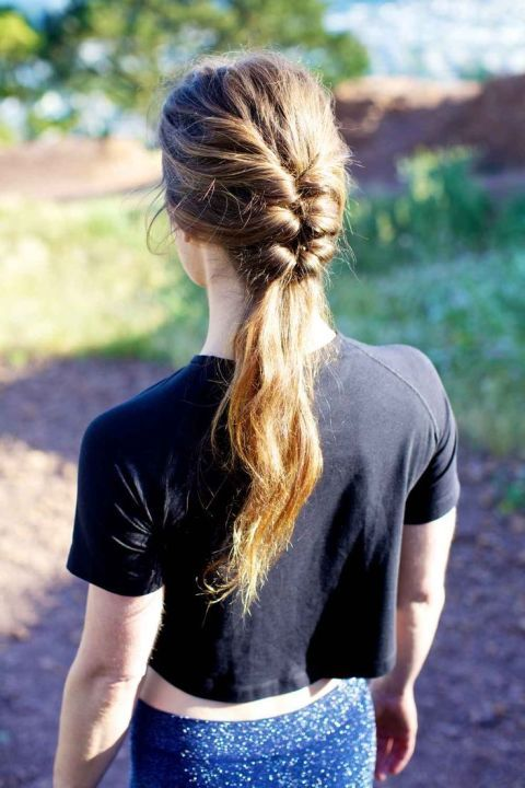 Go half and half with a plaited pony for a casual kinda look