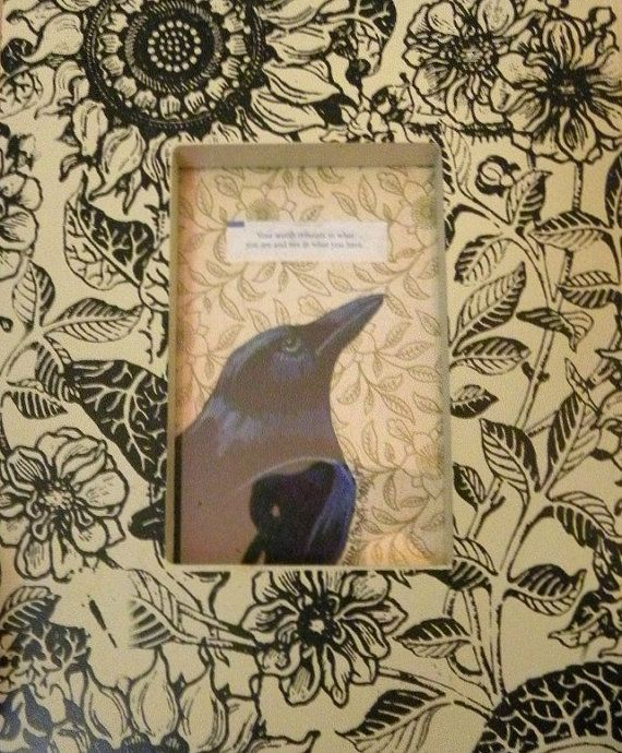 SALE price Fortune Cookie Raven original framed art by StudioLolo2