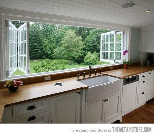 Re-use our windows in the kitchen - open up onto the deck as a servery like these