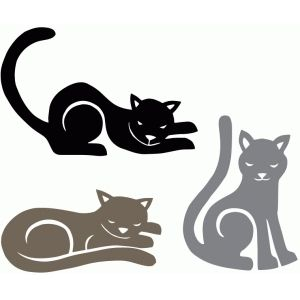 Silhouette Design Store - View Design #72721: three cat silhouettes