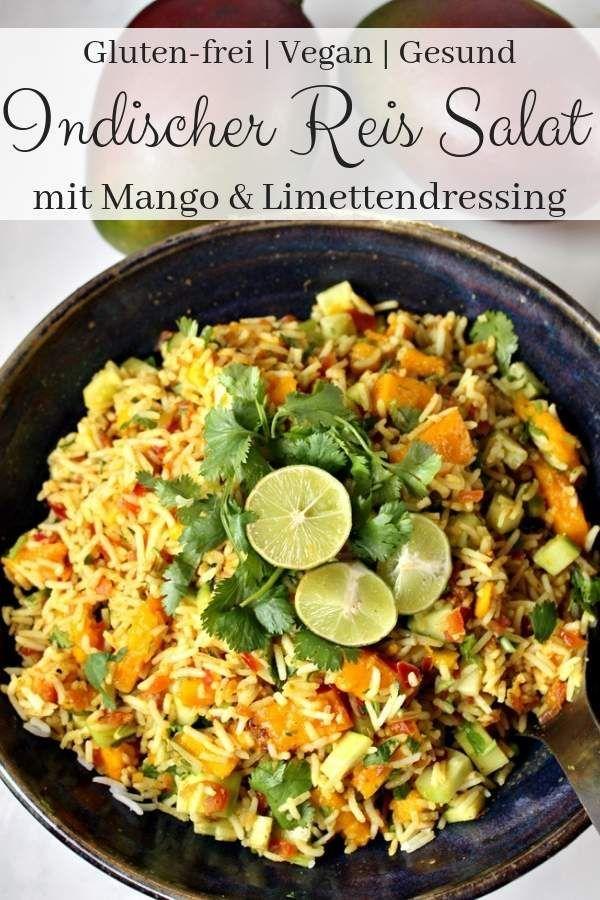 Indischer Reissalat mit Mango - Vegan | ein gesundes einfaches gluten-freies Sal...