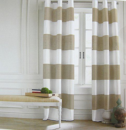 Beige And White Horizontal Striped Curtains White and Mustard Stripe
