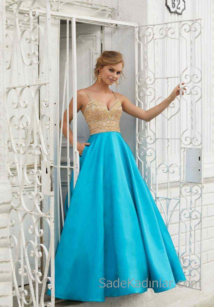 2018Gece Elbiseleri Şık Abiye Modelleri Mavi Uzun Askılı Saten Üst Kısmı Gold Boncuk İşlemeli