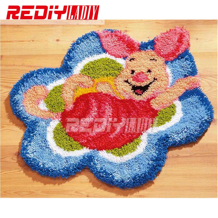Latch Hook Rug Kits Cartoon Happy Pig DIY Needlework Unfinished Crocheting Rug Yarn Cushion Mat Home Decor Embroidery Carpet Rug //Price: $24.95 & FREE Shipping //     #hashtag1