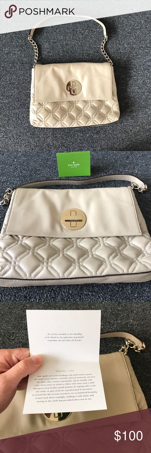 Kate Spade tan quilted shoulder bag Tan Kate spade quilted shoulder bag with light gold hardware, chain and leather strap with gold logo closure. Black and white polka dot interior with two interior pockets and one interior zipper pocket. kate spade Bags Shoulder Bags
