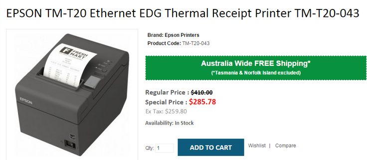 Point of SALE in EPSON TM-T20 Ethernet EDG Thermal Receipt Printer TM-T20-043 at 30% OFF. OnlyPOS undertake FREE Shipping in Australia..!  http://www.onlypos.com.au/epson-tm-t20-043