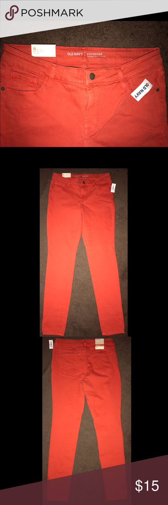 "Old Navy Pop-Color Super Skinny Rockstar Jeans-NWT BRAND NEW - Never worn!  Jeans have original Old Navy tags.  Old Navy Mid-Rise Rockstar Super Skinny Jeans - size 8 Regular.  Material is 91% cotton, 7% elasterell-p, 2% spandex/elastane.  Color is ""hot tamale"" per Old Navy's website.  ***PLEASE NOTE: WE ARE NOT ACCEPTING TRADES OR OFFERS AT THIS TIME*** Old Navy Jeans Skinny"
