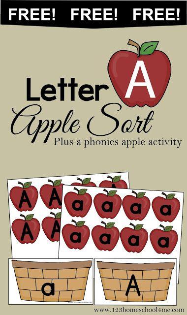 FREE LETTER A APPLE SORT (Instant Download) | Free Homeschool Deals ©
