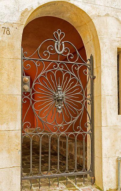 Beautiful iron gate with lucky horseshoe in Charleston, South Carolina