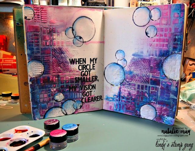 Example of texturizing in an art journal. Lindy's stamp gang