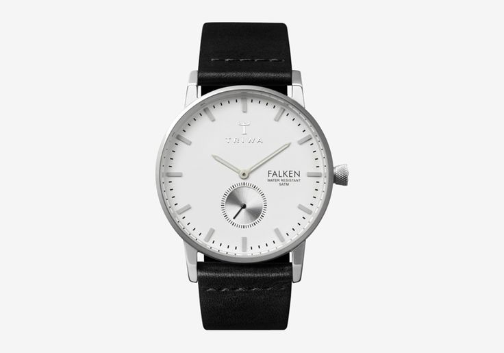 Hodinky Triwa – Ivory Falken – pouzdro ocelové barvy, černý náramek – dámské a pánské, elegantní náramkové  #triwa #falken #watches #women #men #steel #case #leather #strap #black #white