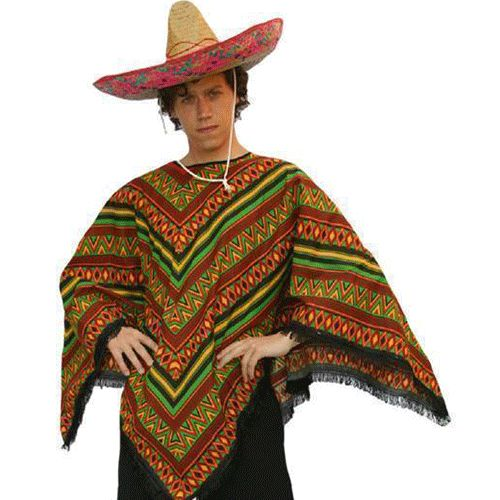 Mexicaanse outfit volwassenen  Voordelige Mexicaanse poncho voor volwassenen. Deze Mexicaanse poncho heeft de echte Mexicaanse kleuren. De Mexicaanse poncho is een maat met een lengte van 90 cm en is geschikt volwassenen. Exclusief sombrero deze is wel los verkrijgbaar in onze webshop.  EUR 18.95  Meer informatie
