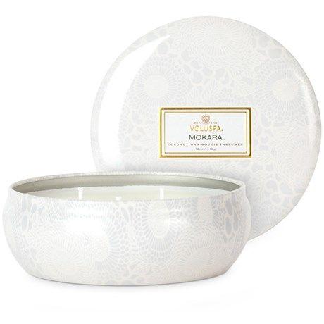 Voluspa-lys med hjemmekoslig duft i vakker blikkboks!
