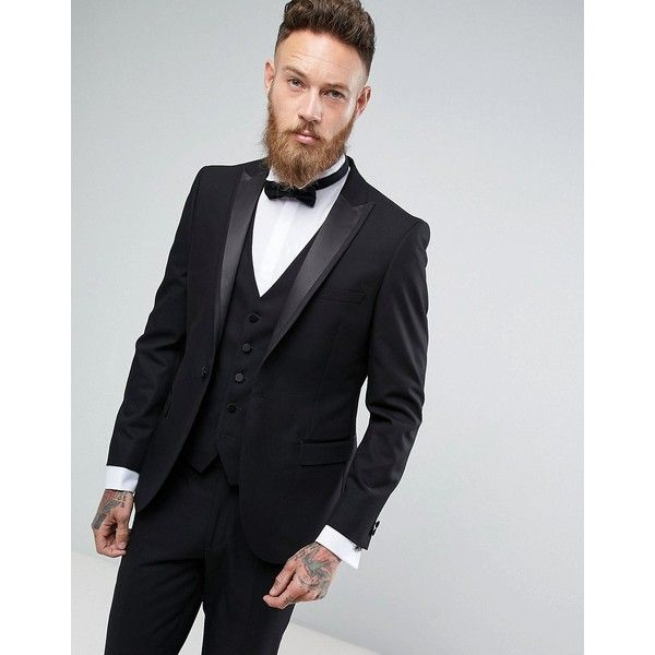 Moss London Skinny Tuxedo Suit Jacket ($155) ❤ liked on Polyvore featuring men's fashion, men's clothing, black, checked mens suits, mens formal suits, mens skinny suits, mens peak lapel suits and mens skinny fit suits
