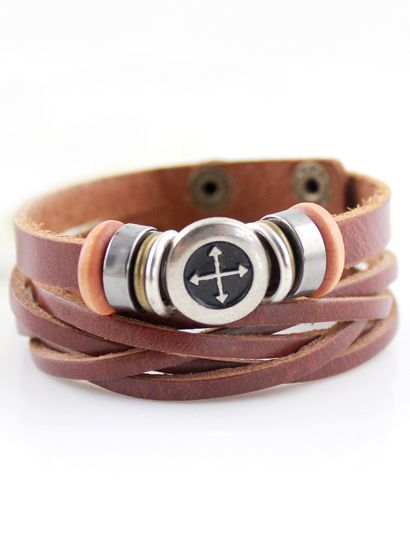 Silver Cross Brown Leather Bracelet 5.59