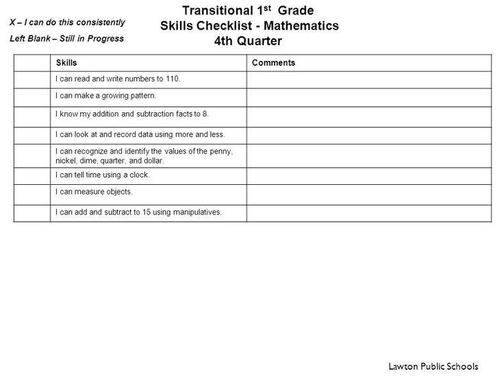 math worksheet : transitional 1st grade skills checklist  reading 1 st quarter  : First Grade Math Skills Checklist