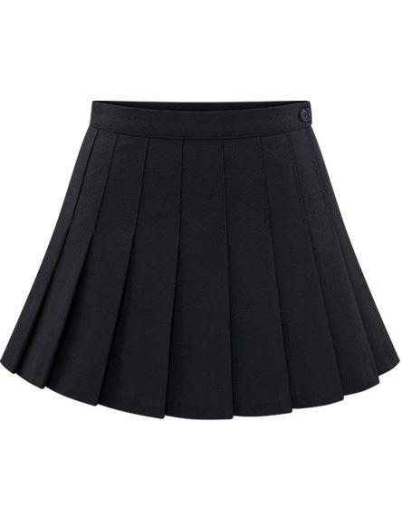 Black Buttons Pleated Skirt - Sheinside.com