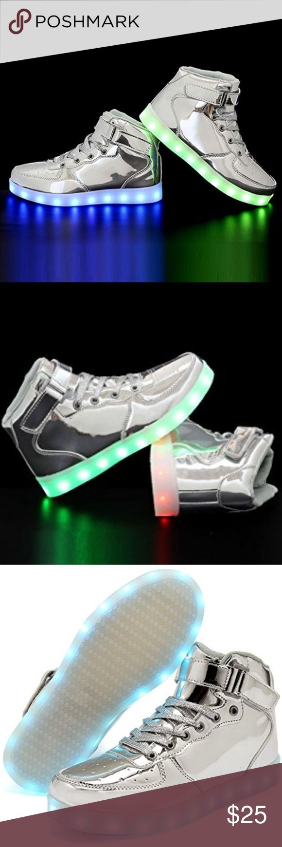 Cior LED Sneakers in Silver Sz. 8 Brand New Unworn PU leather and rubber. SWITCH INSTRUCTION: Hidden switch by the charging port. Press it to switch on.It starts with steady red light.With each press,it changes to another light mode. Press the switch for 12 times to turn the light off.  CHARGE INSTRUCTION: Charge with a USB cable. Switch on the shoes when received and light up until all power gone. Charge for 3 hr Not to use as running shoes or other strong sports. They are suited for casual…