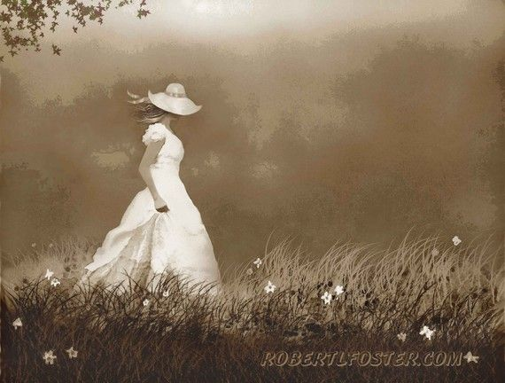 lady art print painting FOG WALK woman girl romantic by lewfoster, $15.00