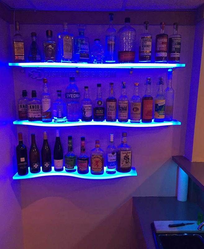 36 Curved Led Lighted Floating Shelves By Customized Designs Man Cave Home Bar Home Bar Designs Glass Bar Shelves