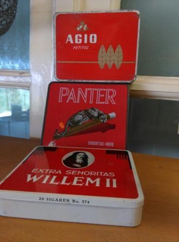 Oude Brocante Set Sigaren Blikken Agio Panter Willem II 1960