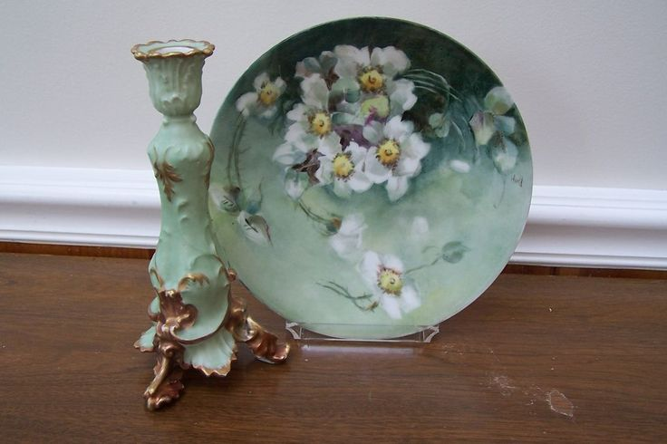 """Elegant Limoges Plate Featuring 'White Roses with Deep Green Canvas Background' Signed by the Victorian Artist 'M Hull'. Go to """"Ruby Lane"""" to read about the technique that was used to paint this plate~Brenda"""
