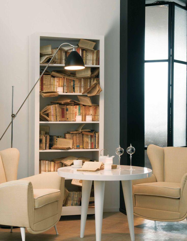 DOM EDIZIONI Luxury furniture Leonard bookcase, Lisa Armchair, Elle Table #leonardbookcase #bookcase #lisaarmchair #luxuryliving #studio #domedizioni #luxuryfurniture