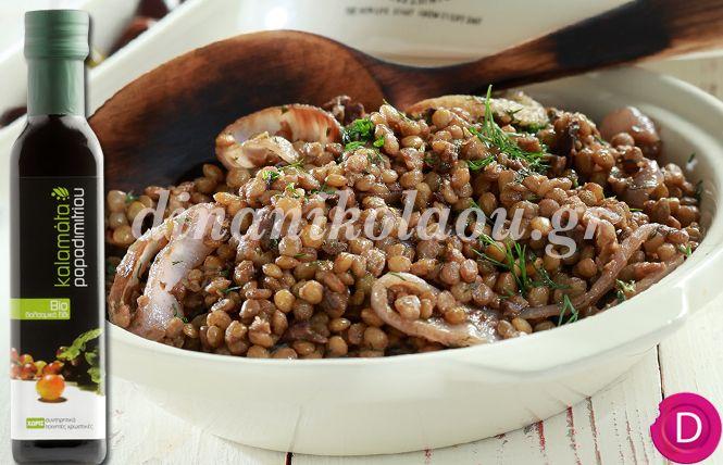 Φακές στη γάστρα με μαραθόριζα και ελιές   Dina Nikolaou