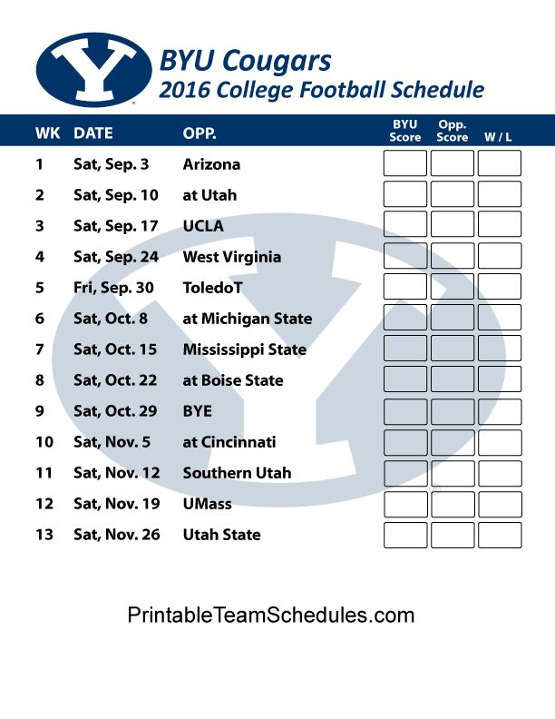 BYU Cougars Football Schedule 2016. Printable Schedule Here - http://printableteamschedules.com/collegefootball/byucougars.php