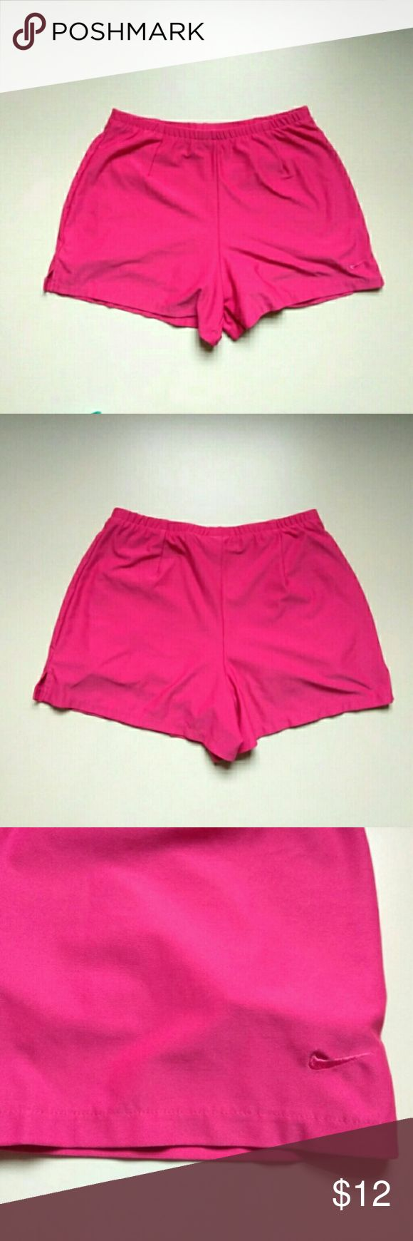 "NIKE women pink sport shorts, size small NIKE women pink shorts Size: small (4-6) Made in Mexico Length: 12-1/2"" Waist: 13-1/2"" (elastic) Stretch material Used but in good condition  Body: 86% polyester, 14% pandex Lining: 88% polyester, 12% spandex  Smoke/pet free studio  Machine wash cold. Wash separately. Do not use softener. Remove immediately. Do not allow to lay on itself when wet. Do not bleach. Line dry. Do not iron. Do not dry clean.  Please contact us if you have any concerns…"