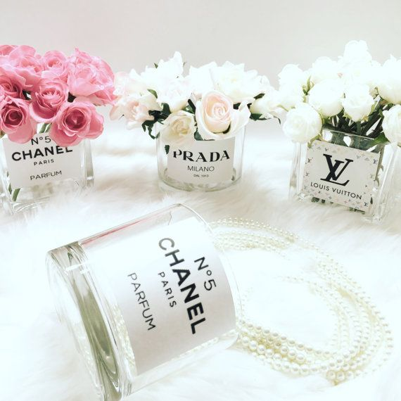 Chanel flower vase diy designer by LuxuryDecors on Etsy