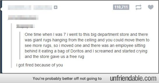 Funny Tumblr Posts, Rug Store - Employee of the month? I think not...