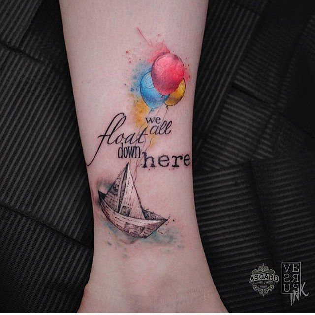 Stephen King tattoo by Alberto Cuerva AlbertoCuerva graphic watercolor stephenking it balloons paperboat