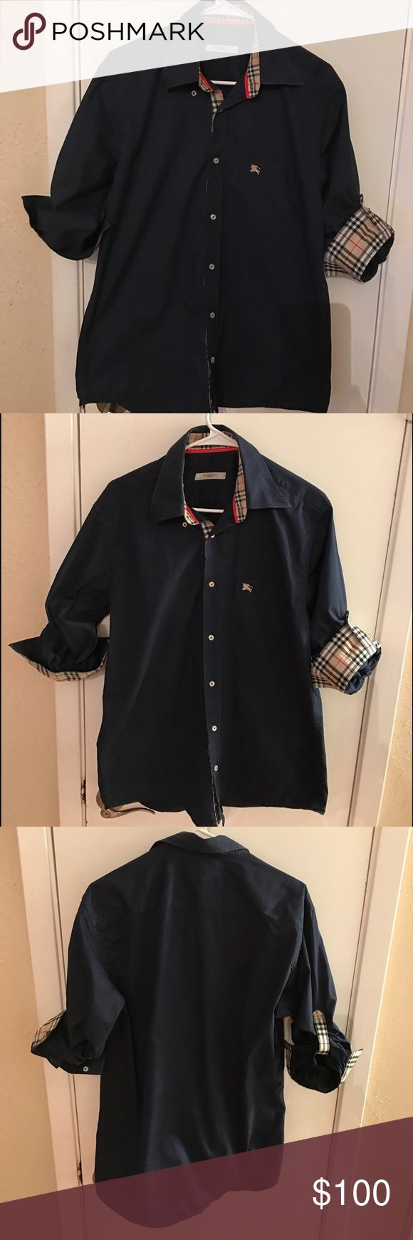 Excellent condition BurBerry men's Navy Blue Shirt Burberry Shirts Casual Button Down Shirts