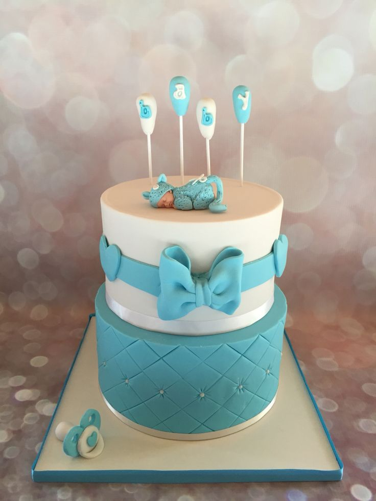 Baby shower boy fondant cake pi ce mont e b b gar on cake decorating cake design - Deco baby shower garcon ...