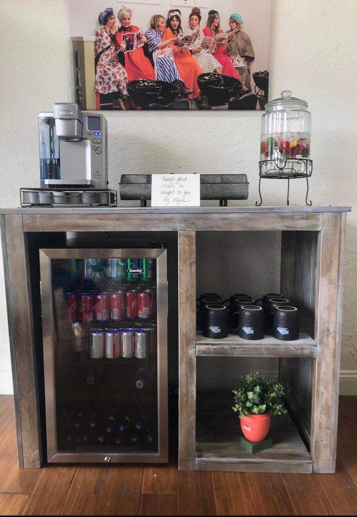 Mini Fridge Table Coffee bar home, Kitchen bar design